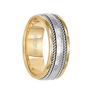 ESSEX Two Tone 14K Gold Ring with Hammered Palladium Center by ArtCarved - 7.5 mm (More options available)