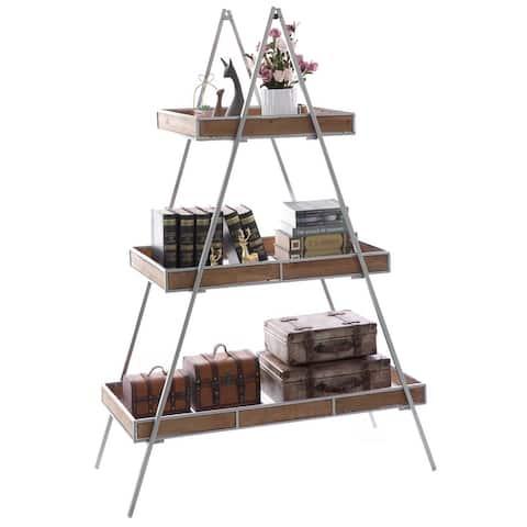 Large Ladder Triangular 3 Tier Metal Display Shelving Server Rack - N/A