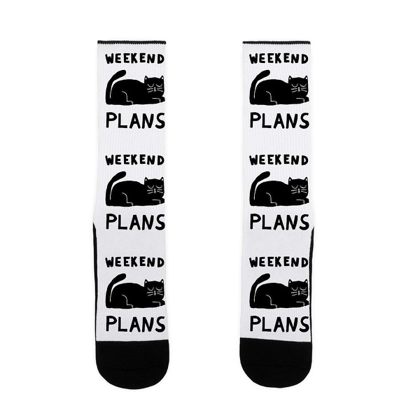 LookHUMAN Weekend Plans Cat US Size 7-13 Socks