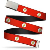 Blank Chrome  Buckle Flash Logo Red White Yellow Webbing Web Belt