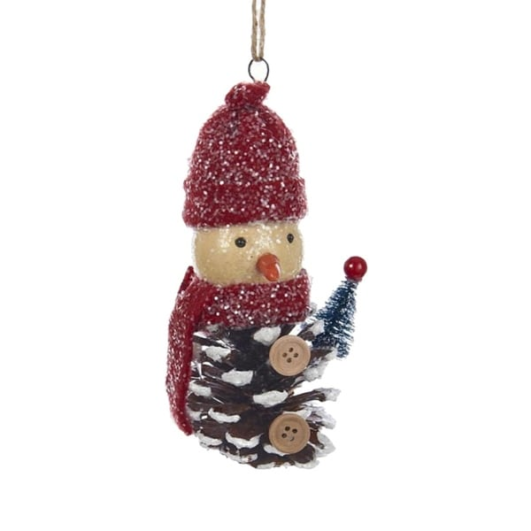 """5.75"""" Decorative Pinecone Snowman with Red Hat and Scarf Christmas Ornament"""