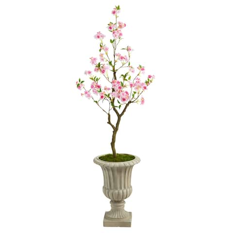 """5' Cherry Blossom Artificial Tree in Sand Finished Urn - 20.5"""""""