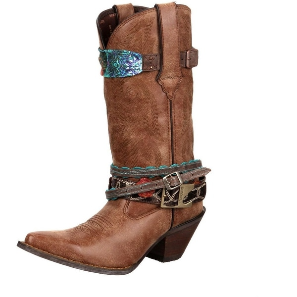 "Durango Western Boots Womens 12"" Crush Accessorized Brown"