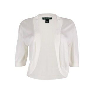 Lauren Ralph Lauren Women's Petite Short-Sleeve Open-Front Cardigan - ps