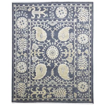One of a Kind Hand-Knotted Persian 8' x 10' Paisley Wool Brown Rug - 8' x 10'