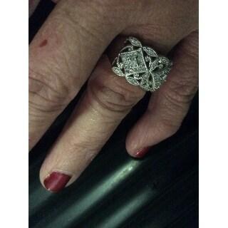 Annello by Kobelli 10k White Gold 1/2ct TDW Diamond Antique Filigree Wide Anniversary Ring