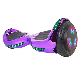 "Flash Wheel UL 2272 Certified Hoverboard 6.5"" Bluetooth Speaker with LED Light Self Balancing Electric Scooter Chrome Purple"