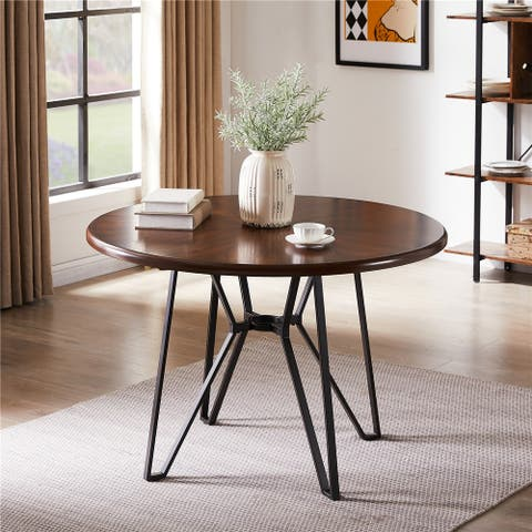 Furniture R Mid-Century Modern Round Wooden Dining Table