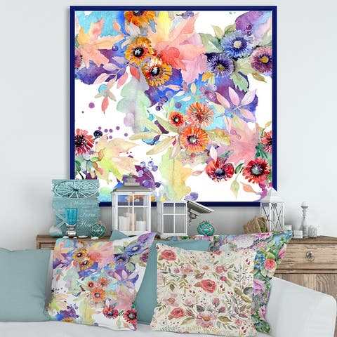 Designart 'Bouquet Floral Botanical Flowers' Modern Framed Canvas Wall Art Print