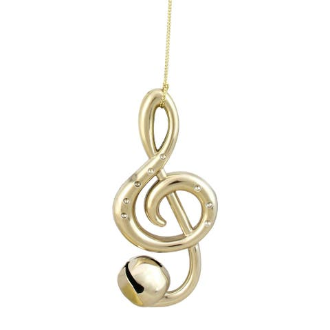 "4.75"" Shiny Gold Treble Clef Musical Note Jingle Bell Christmas Ornament"