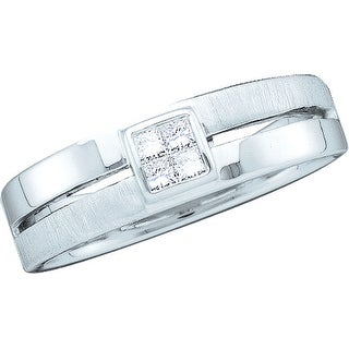 14k White Gold Princess Invisible-set Diamond Mens Masculine 5mm Wedding Band Ring 1/7 Cttw
