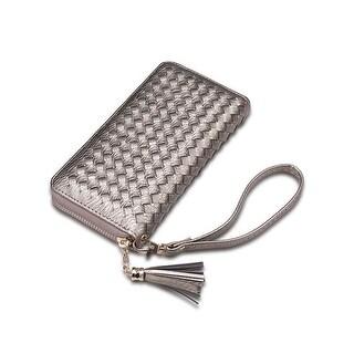 Faux Leather Interwoven Tassel Women's Clutch