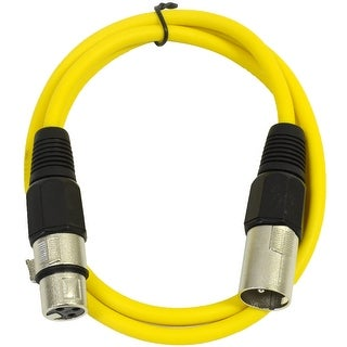 SEISMIC AUDIO Yellow 2' XLR Patch Cable Snake Mic Cord