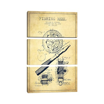 """iCanvas """"Fishing Reel Vintage Patent Blueprint"""" by Aged Pixel 3-Piece Canvas Wall Art Set"""
