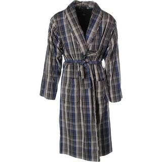 Hugo Boss Mens Plaid Sleepwear Long Robe - L