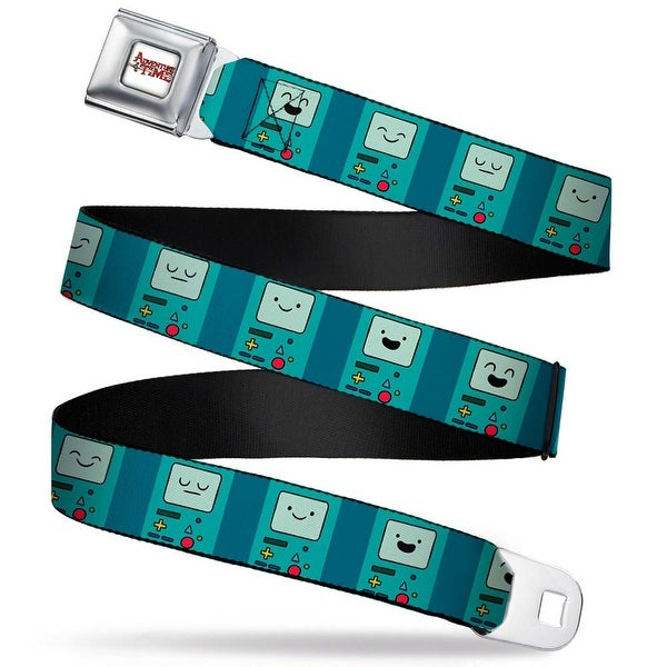 Adventure Time Logo White Full Color Bmo Expressions Turquoise Webbing Seatbelt Belt