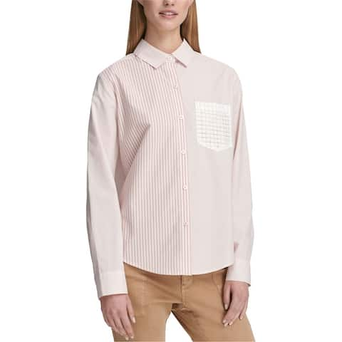 Dkny Womens Lace Pocket Button Up Shirt