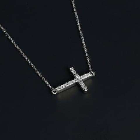De Couer 10k Gold 1/20ct TDW Diamond Cross Necklace