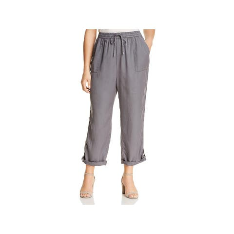 Bobeau Womens Plus Lounge Pants Adjustable Track Stripe