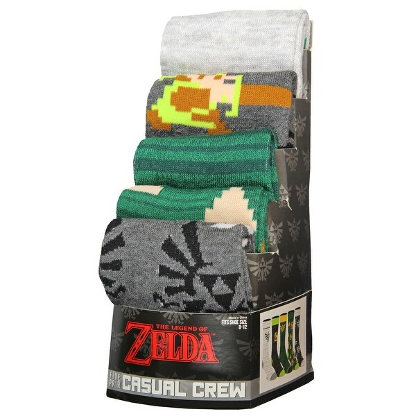 The Legend of Zelda mens casual crew socks new 5 pairs in each package