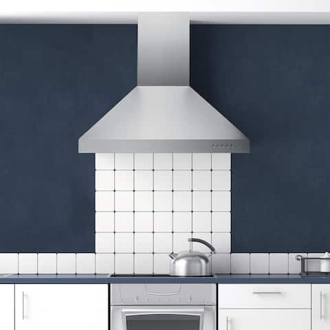 """Hauslane WM-530 36"""" Wall Mount Range Hood Powerful Suction, 3 Speeds, LED, Baffle Filters, Convertible, Stainless Steel - 36"""