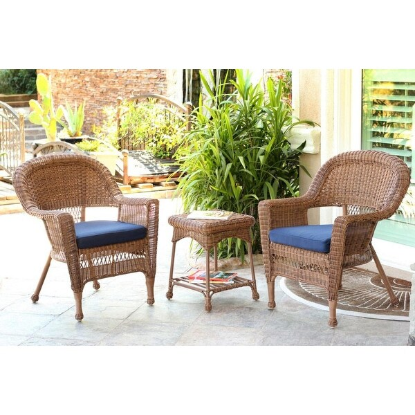 3 Piece Honey Resin Wicker Patio Chairs And End Table Furniture Set   Blue  Cushions