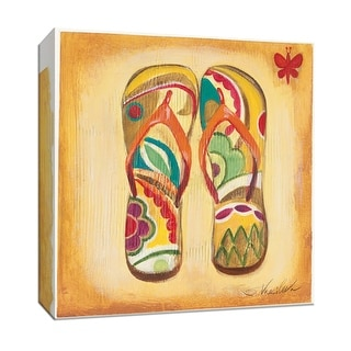 """PTM Images 9-152791  PTM Canvas Collection 12"""" x 12"""" - """"Beach Flip Flops II"""" Giclee Shoes Art Print on Canvas"""