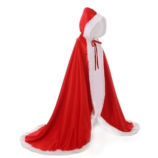 LuckyMjmy Women Bridal Cape Wedding Cloak With Fur, Red, Size One Size - One Size