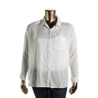 Polly & Esther Womens Juniors Sheer Panel Button-Down Top