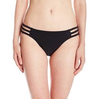 Jessica Simpson Womens Strappy Hipster Bikini Bottom Black Solid Small S