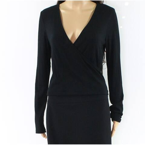 Jolt Womens Black Size Large L Surplice Neck Ribbed Knit Faux Wrap Top