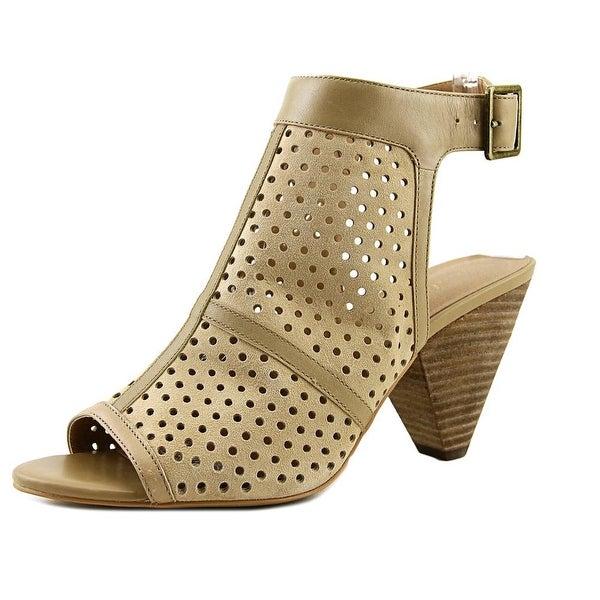 Amelia Grace Kelly Women Open-Toe Leather Tan Slingback Heel