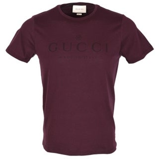 Gucci Men's 441685 Burgundy Red Cotton Trademark Logo SLIM FIT T Shirt Large