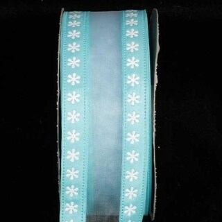 """Semi Sheer Light Turquoise Blue and White Foil Flowers Wired Craft Ribbon 1.5"""" x 40 Yards"""