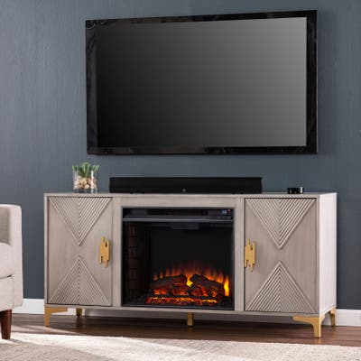 Strick & Bolton Lillyvale Gray Wood Electric Fireplace