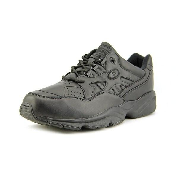 Propet Stability Walker Men 2E Round Toe Leather Black Walking Shoe