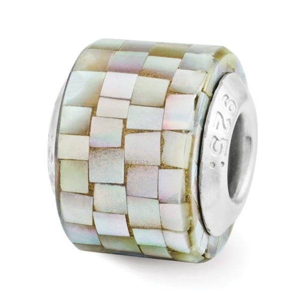 Sterling Silver Reflections Grey Mother of Pearl Mosaic Bead (4mm Diameter Hole)