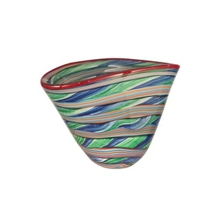 "12.75"" Red, Orange, Blue, and Green Striped Bowl Hand Blown Glass Bowl"