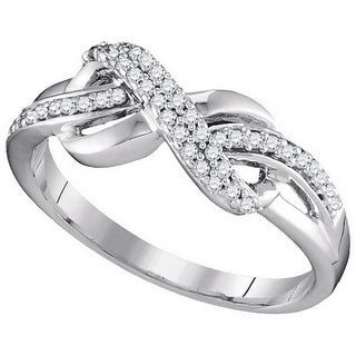 10kt White Gold Womens Round Natural Diamond Infinity Fashion Ring 1/5 Cttw