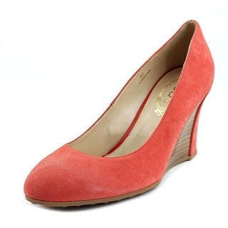 Tod's Zeppa Gomma T75 SG Decollete Open Toe Suede Wedge Heel