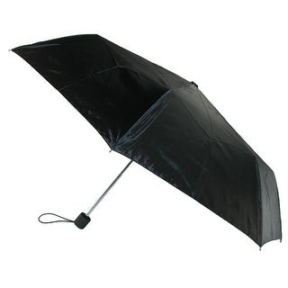 Totes Basic Manual Open and Close Solid Black Compact Umbrella - One size