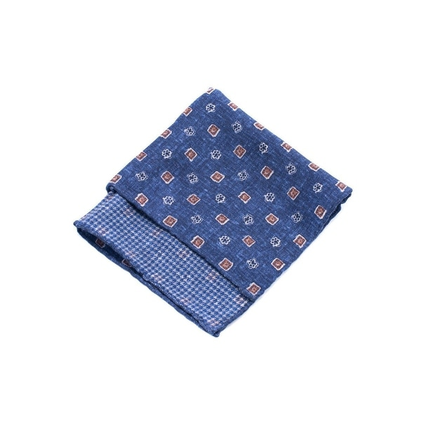 Brunello Cucinelli Pure Wool Blue Patterned Pocket Square