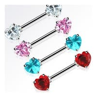 "Surgical Steel Nipple Bar with Double  Heart CZ  - 14GA 9/16"" Long (Sold Individually)"