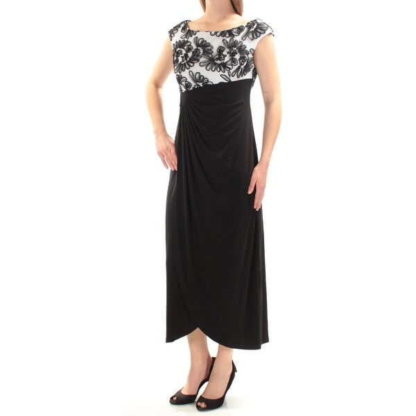 CONNECTED Womens Black Embellished Pleated Cap Sleeve Jewel Neck Below The Knee Formal Dress Petites Size: 6