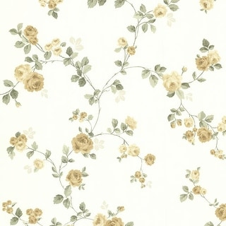 Brewster 344-68731 Cornelia Yellow Rose Trail Wallpaper