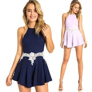 Womens Summer Sleeveless Lace Short Romper Jumpsuit Dress
