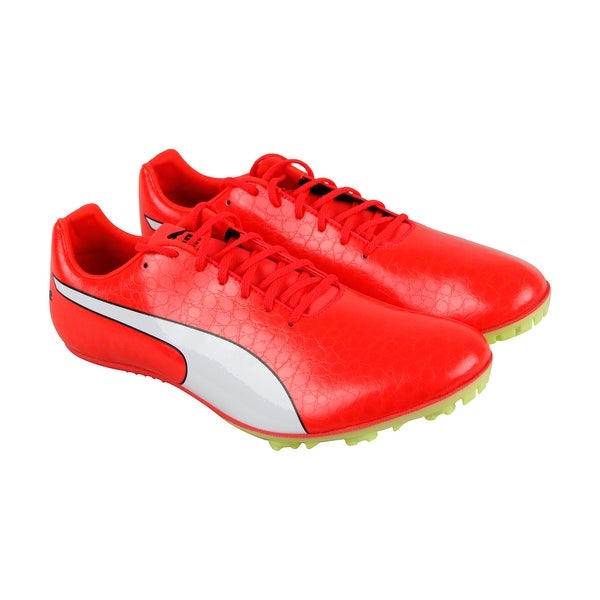 84075bb6e06997 Puma Evospeed Sprint 8 Mens Red Leather Athletic Lace Up Running Shoes