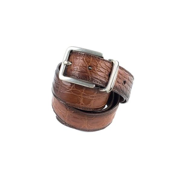 Brunello Cucinelli Ombre Cognac Brown Leather Embossed Belt