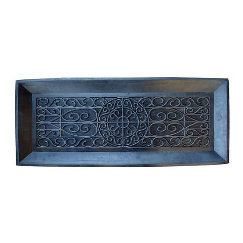 """Offex 2"""" High Wall Sturdy Rubber Boot Tray - Black"""