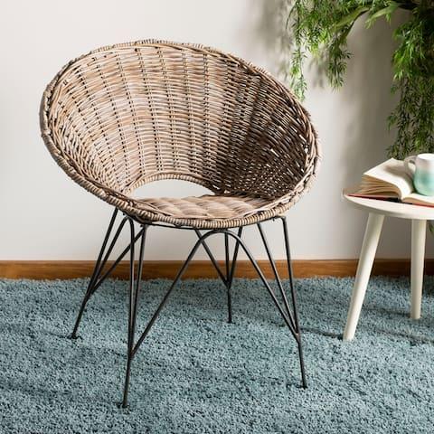 """SAFAVIEH Sierra Rattan Accent Chair -Grey Wash / Dark Steel - 31.9"""" x 28"""" x 24"""""""